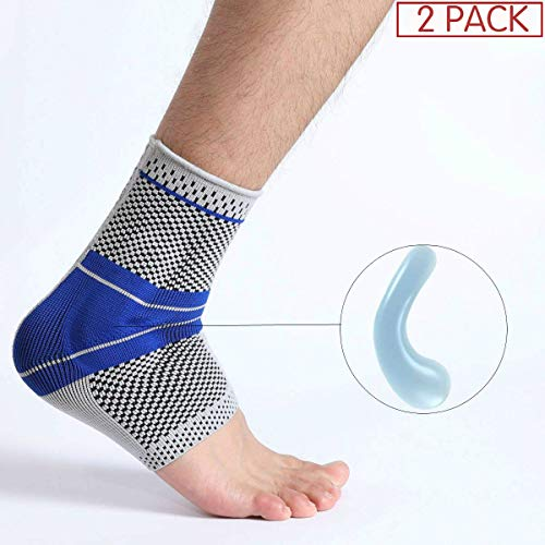 Ankle Brace, Elastic & Breathable Ankle Support Compression Sleeves Ankle Stabilizer/Foot Protection Socks with Silicone Pad for Sprain Relieves Pain Running Men Women – 2 Pack Large