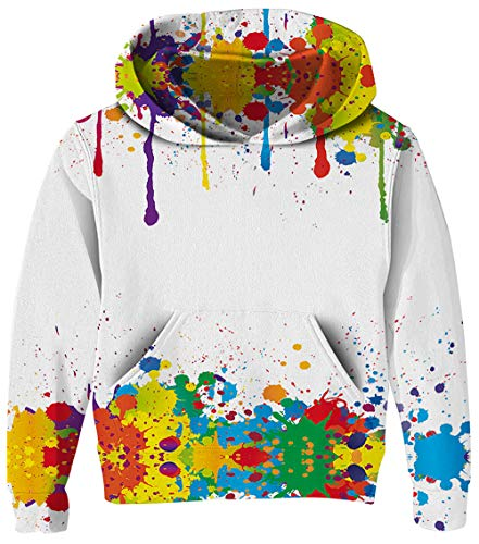 UNICOMIDEA Girls Pullover Cute Sweatshirt Lightweight Simple White with Ink Point Hoodies Sweater Front Pouch Pocket Size XXL -