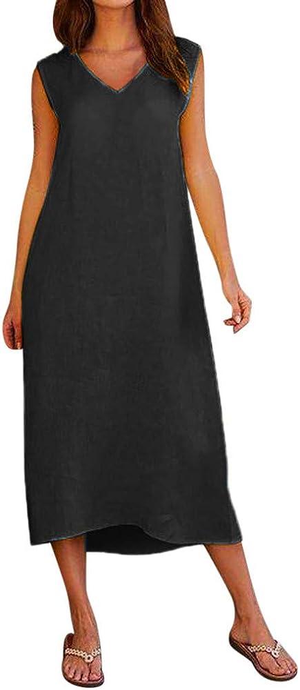 QinMM - Vestido Casual de Verano sin Tirantes, algodón y Lino, sin ...