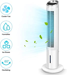 Evaporative Air Cooler - 40'' Portable Oscillating Fan Tower Fan with Evaporative Cooler & Humidifier, 3-Speed Setting 3-Wind Type Remote Control 70°Oscillating 8 Hour Timer LCD Control Super Quiet