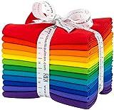 Robert Kaufman Kona Cotton Solids Bright Rainbow Fat Quarter Bundle