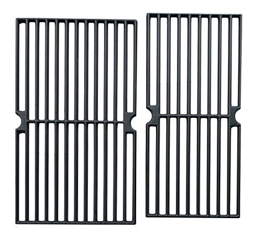 Hongso PCG222 Cast Iron Cooking Grid Replacement for Brinkmann 810-3820-S, 810-3821-S, Dyna-Glo DGP350NP and Master Forge MFA350CNP Gas Grill Models, Set of 2