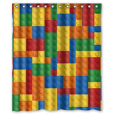 Exceptionnel Colorful Lego Blocks Pattern Polyester Fabric Custom Home Decor Shower  Curtain 60u0026quot; ...