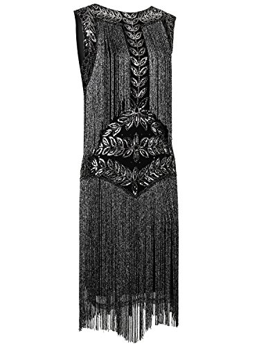 Gatsby Silver Fringed Vintage Dress Women's Dresses 1920s Vijiv Full Cocktail Flapper Black Zx6IqwPS