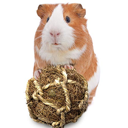 SunGrow Coconut Fiber Ball for Guinea Pig Improves Dental Health - 100% Natural Chew Toy- Provides Hours of Stimulation - Environment Friendly, Stress Reliever - Ideal for Bunnny & Chinchilla