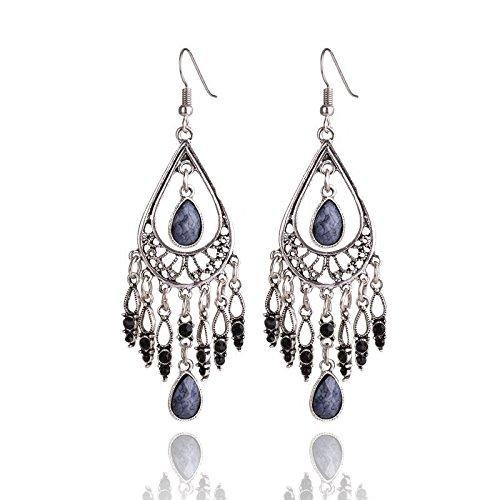 Kanggest Water Drop Earrings Beaded Tassel Hollow Earrings Drop Dangle Stud Earrings for Women Girls Perfect Valentines Day Gifts