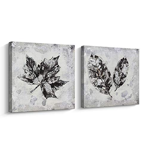 Pinetree Art Leaf Wall Art Set for Livingroom- Hand Painted Fallen Leaves Art Painting Gallery Wrapped Home Decoration Silver, 12 x 12 x 2pcs