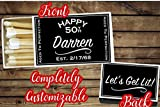 Set of 18 Personalized Matches, Matchbox Birthday Favors, Cigar Matches,