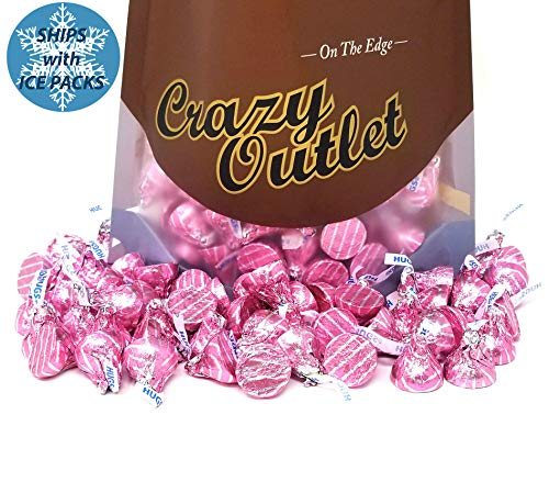 Hershey's Kisses Hugs Pink Foils, Milk Chocolate Hugged with White Creme, 2 lbs