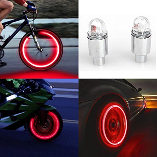 Ecosin Bicycle Valve Lights 2pcs LED Tire Valve Stem Caps Neon Light Auto Accessories Bike Bicycle Car Auto (Silver A) (Valve Light Cap)