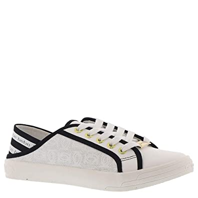 bebe Womens Dacia Sneaker, White/Black, 7 Medium US