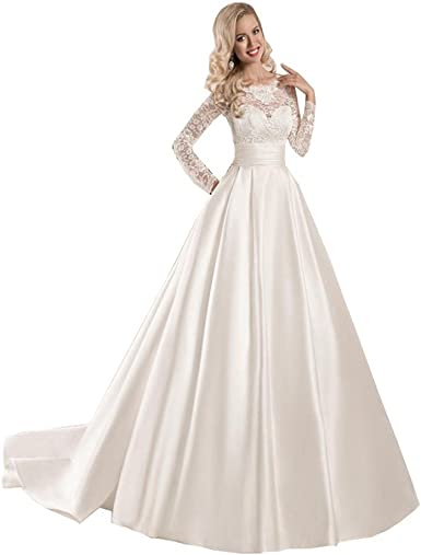 Chady Women S Lace Long Sleeve Ball Gowns Wedding Dresses 2018 Satin Bridal Gowns At Amazon Women S Clothing Store