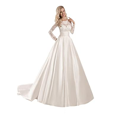 Chady Women\'s Lace Long Sleeve Ball Gowns Wedding Dresses 2018 Satin ...