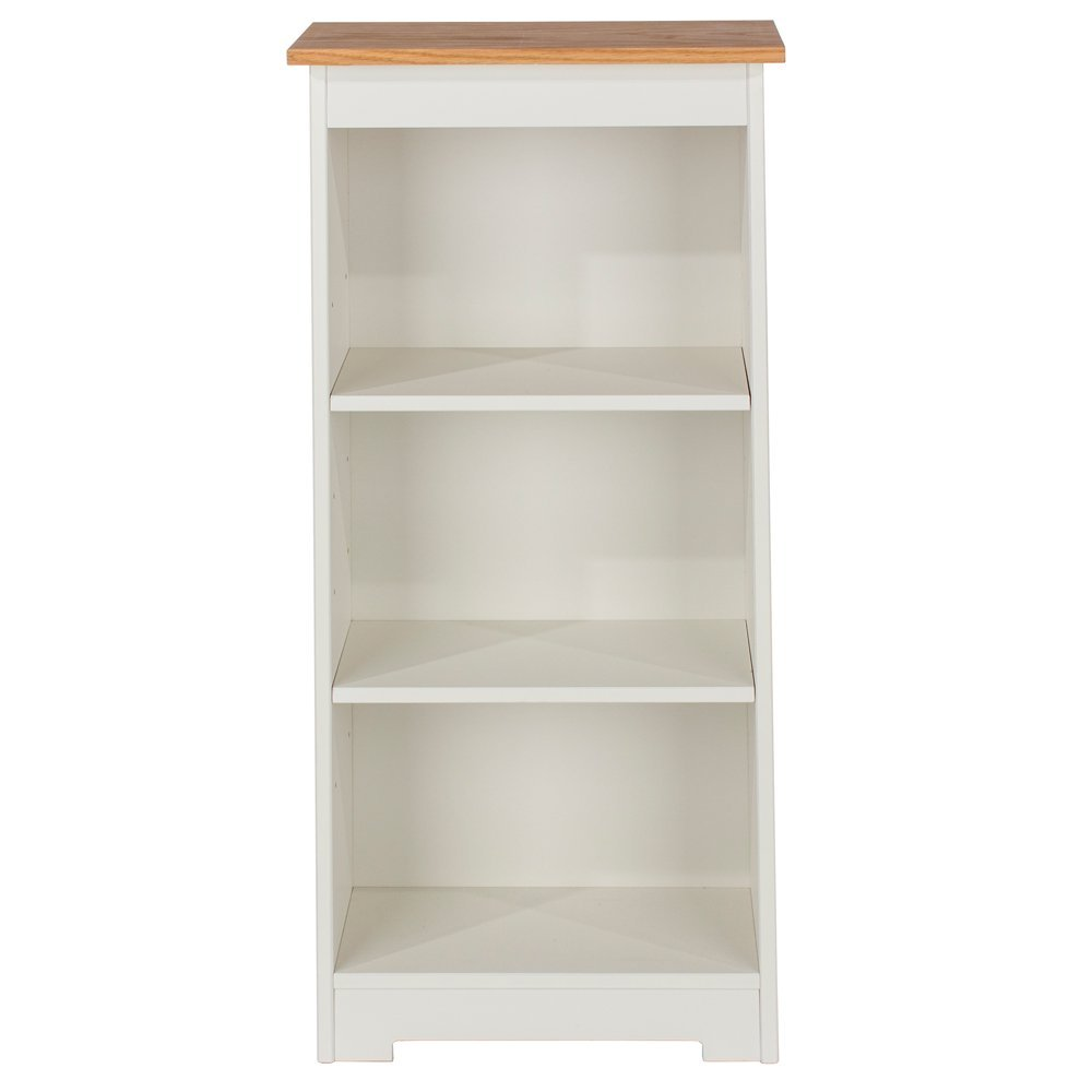 Core Products Low Narrow Bookcase with Oak Veneered Tops, Wood, Soft Cream CL919
