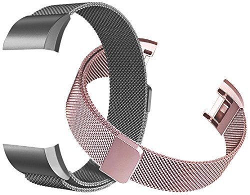 Fitbit Charge 2 Bands (2-Pack), Tecson Stainless Steel Metal Milanese Bracelet Strap Replacement Wrist band with Magnet Lock for Fitbit Charge 2