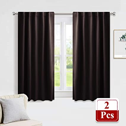 PONY DANCE Bedroom Window Drapes - Blackout Curtains Energy Efficient  Thermal Insulated Back Tab/Rod Pocket Curtain Panels/Window Treatments, 42\