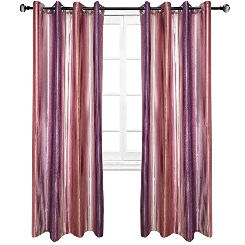 Riyidecor Purple Vertical Striped Curtains Classical Grape Ombre Gradient Grape Color Faux Silk Fashion Unique Polyester Living Room Bedroom Window Drapes Treatment Fabric (2 Panels 52 x 84 Inch)