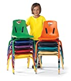 Berries 8118JC1005 Stacking Chair with Powder-Coated Legs, 8'' Height, Teal