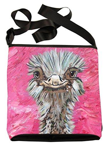Price comparison product image Animal Small Vegan Cross Body Handbag -Wearable Art - From My Original Paintings (Ostrich - Santosha)