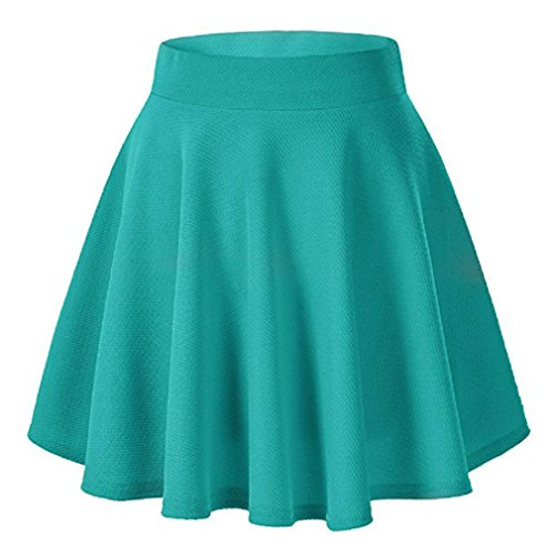 Moxeay Women's Basic A Line Pleated Circle Stretchy Flared Skater Skirt (Small, Teal -
