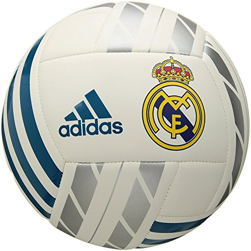 Adidas Performance Real Madrid de Fútbol, White/Vivid Teal/Silver Metallic, Talla 1