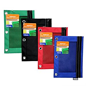 Bazic 3-Ring Pencil Pouch with a Mesh Window, Colors May Vary (803)