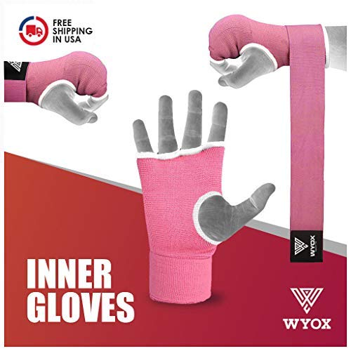 Wyox Boxing Inner Gloves Gel Padded Hand Wraps Fist Bandages MMA Thai Muay Training (Small, Pink)
