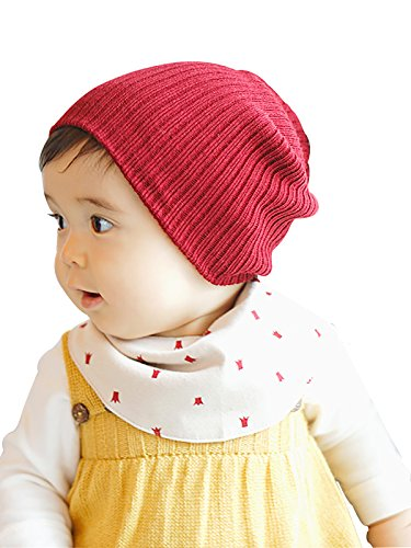 Zando Cotton Baby Girl Beanie Comfort Crochet Warm Infant Toddler Beanie Hat Soft Lined Plain Cool Kids Caps for Winter Burgundy (Girl Personalized Image Wrap)