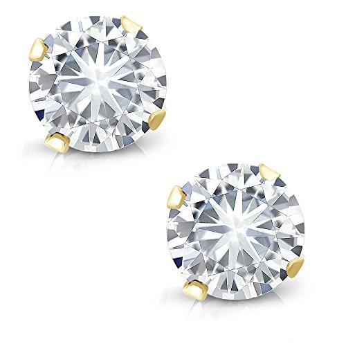 (Charles & Colvard Forever Classic 4mm Round 0.46ct DEW White Created Moissanite14k Yellow Gold Round 4 Prong Stud Earrings)