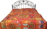 Multicolor Mandala Bedspread from Kutch with Embroidered Patches and Mirrors - Pure Cotton