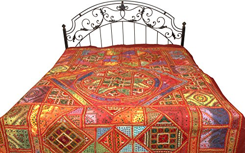 Multicolor Mandala Bedspread from Kutch with Embroidered Patches and Mirrors - Pure Cotton by Exotic India
