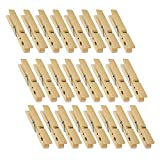 Juvale Wooden Clothespins - 24-Pack Large Clothespins for Shirts, Sheets, Pants, Decor- Made of Natural Wood