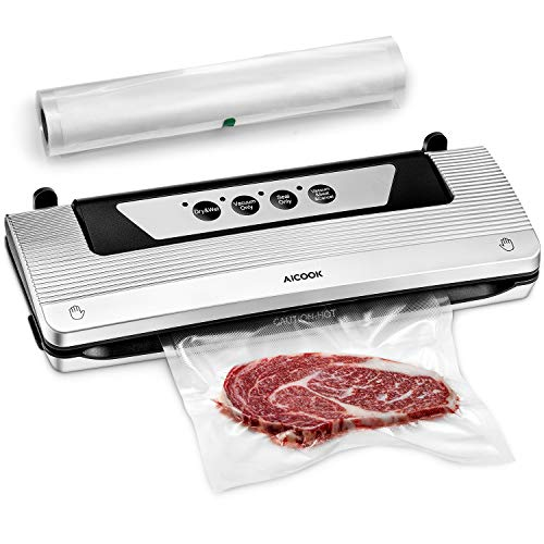 Vacuum Sealer for Food, Aicook 4 in 1 Automatic Food Saver Machine with Starter Kit Rolls, Dry Moist Food Modes for Sous Vide, Easy to Clean, Compact Design