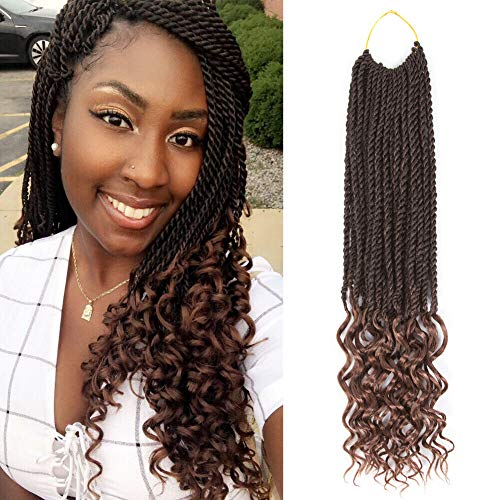 Senegal Twist Curly Goddess Crochet Hair Synthetic Hair Extension Senegalese Twist Hair Crochet Braids 18inch 6Packs 30Strands/Pack (18inch, T1B/30) -