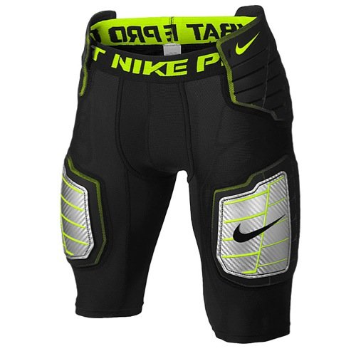 Nike Men's Hyperstrong Compression Hard Plate Football Short Black/Volt Size Large