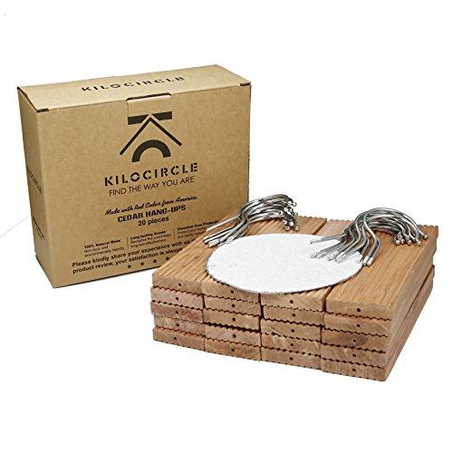Kilocircle 20 pack cedar hang ups-nature moth repellent for closet with cedar fragrance-standard size 6.5''x1.9''X0.5'' (Blocks Moths Cedar)