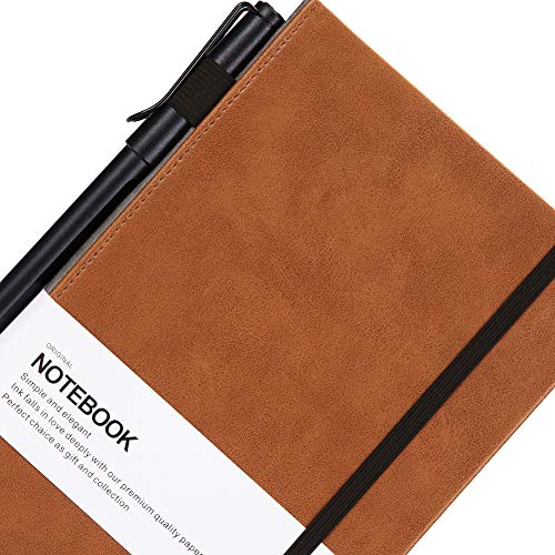 Thick Classic Notebook with Pen Loop - Bangma Wide Ruled Hardcover Notebook Journal with Inner Pocket & A5 Premium Thick Paper + Page Dividers Gifts,Bound Notebook Large(8.5 x 5.9 In)]()