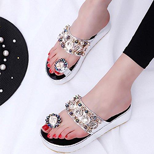 Hunpta rauen Sommer Freizeit Sandalen Peep-Toe Flip Flops dicken Boden Hausschuhe Silber