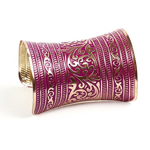 Global Huntress Magnificent Retro Magenta Color Cuff Bracelet in a Floral Display of Gold Leaves and Designs