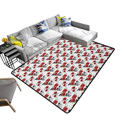 Rose Custom Pattern Floor mat Watercolor Art Style Skull with Red Roses and Buds Gothic Halloween Pattern 78