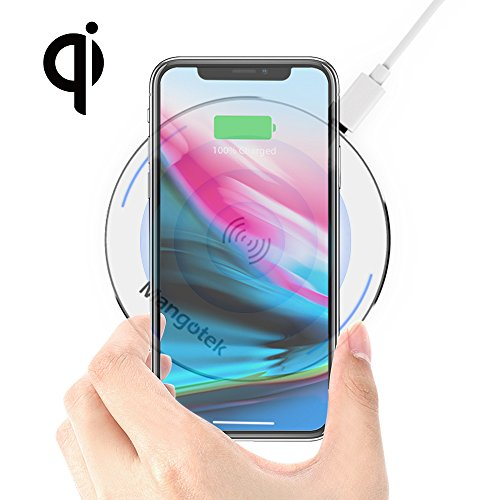Wireless Charger Mangotek Portable Charging Pad QI Certificated Fast Charging for Samsung S8/S7/S6 Edge+/Note 5 and Normal Speed for iPhone X/8/8 plus and All Qi-Enabled Devices[NO AC ()