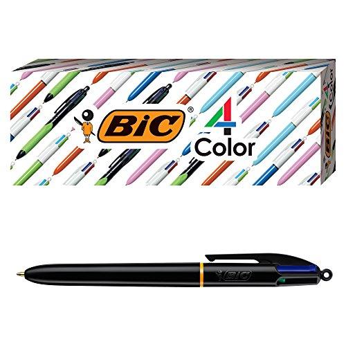 BIC 4-Color Pro Ballpoint Pen, Black Barrel, Medium Point (1.0mm), Assorted Inks, 3-Count ()