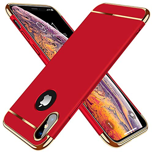 "TORRAS [Lock Series] iPhone X Case/iPhone Xs Case, Ultra Thin 3 in 1 Hybrid Hard Plastic Case Anti-Scratch Matte Finish Slim Cover Case Compatible with iPhone X/XS 5.8"" - Red"