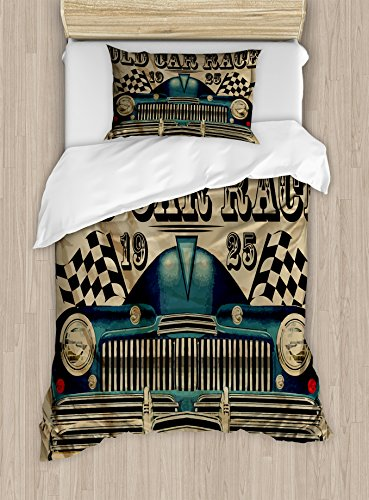 Ambesonne Cars Duvet Cover Set, Traditional Old Car Race Theme Nostalgic American Car with Flags Rusty Look, Decorative 2 Piece Bedding Set with 1 Pillow Sham, Twin Size, Brown Black