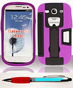 Accessory Factory(TM) Bundle (the item, 2in1 Stylus Point Pen) For Samsung Galaxy S3 III i9300 - Heavy Duty Armor Style 3 w Bottle Opener and Credit Card Slot Case Purple AM3