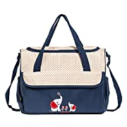 SoHo diaper bag Royal Navy with Elephant 10 pieces set nappy tote bag large capacity for baby mom dad stylish insulated unisex multifunction waterproof includes changing pad stroller straps Brown