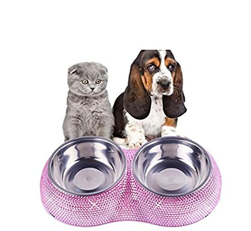 Bling Rhinestone Pet Feeder / Pet Bowls For Small Cats Dog Double Diner Pet (Luxury Dog Accessories)