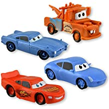 Disney Cars Set of 4 Figurines (Lightning McQueen, Sally, Mater & Finn)