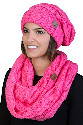 Candy Scarf - bHS-6100-80 Oversized Beanie Scarf Bundle - Candy Pink