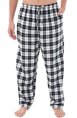 Alexander Del Rossa Mens Flannel Pajama Pants, Long Cotton Pj Bottoms, 2XL Black and White Tartan Plaid (A0705Q412X)